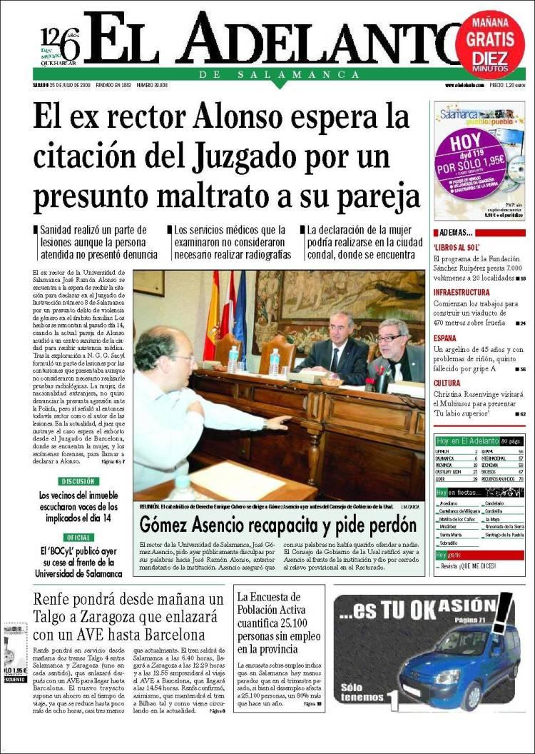 Portada de El Adelanto de Salamanca, relacionada con la dimisión del rector de la USAL José Ramón Alonso