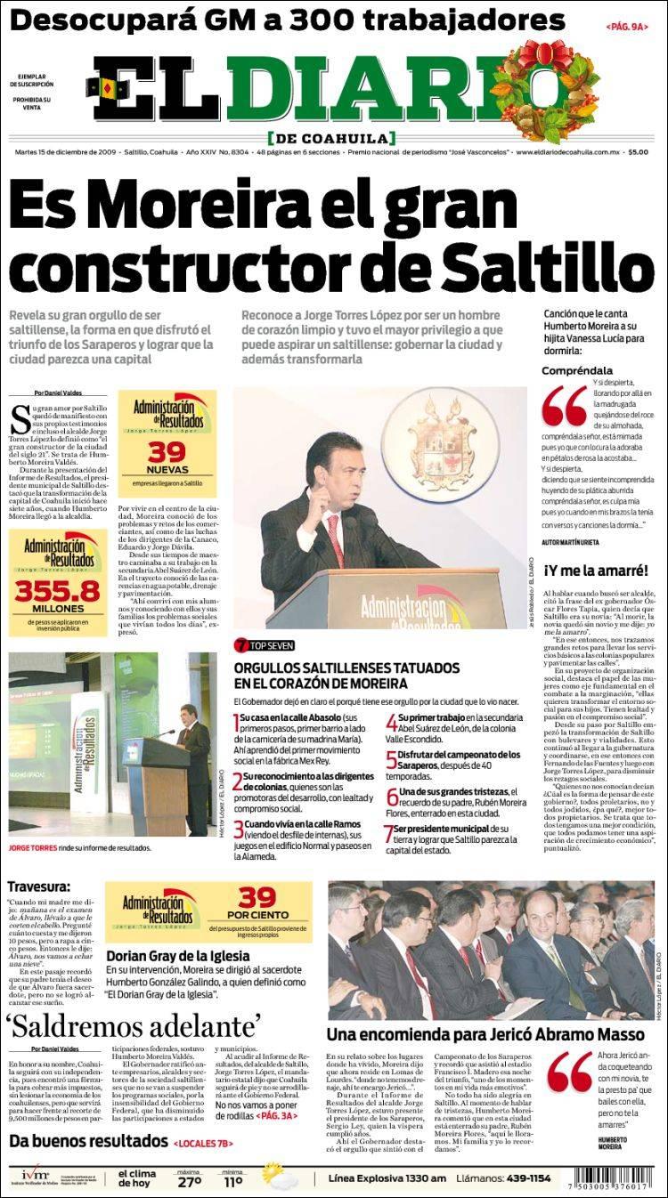 Portada del periódico El Diario de Coahuila (Coahuila, México) : Portada de Martes, 15 de Diciembre de 2009 : Kiosko.net